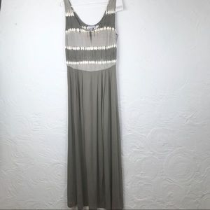 NWT Heine Taupe and Cream Tie Dye Tank Maxi Dress